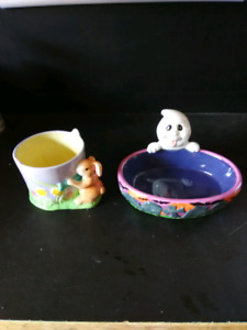 Easter and Halloween candy dishes