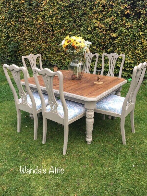 Oak shabby chic dining sets