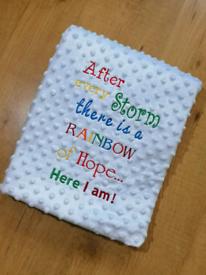 Personalised Rainbow Quote Baby Blanket