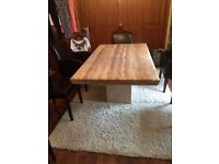 Marble dinning table & four leather chairs