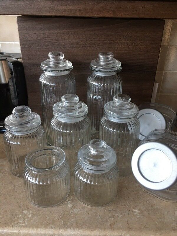 Gl Sweet Jars X 10 With Scoops Tongs Used For Wedding Table