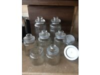 Glass Sweet Jars x 10 with Scoops / Tongs - Used for Wedding Sweet Table