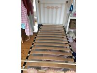 Feather and black cast iron 3 ft bed frame and matress available Myers mattess for £15