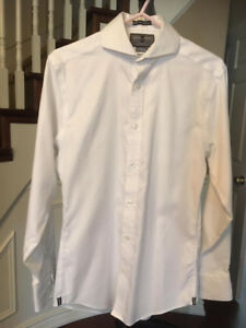 Men's Slim Fit Non-Iron White Dress Shirt (Size 14 32)
