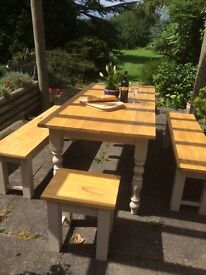 Dining table and set of 4 bench seats