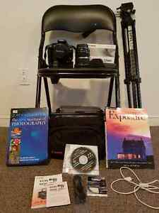 Canon EOS Rebel XT camera, lens, tripod and books