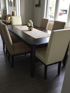 Real wood dining table for eight, with 8 chairs and buffet
