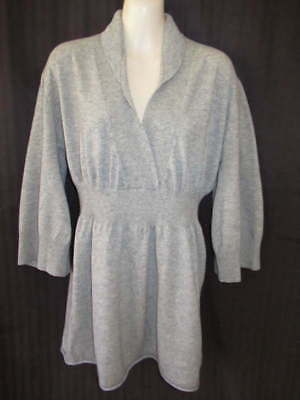 LA Made LAMade 100% Cashmere Gray shaped 3/4 sleeve Sweater with Collar L
