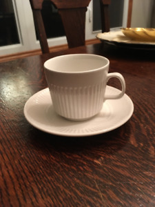 JOHNSON BROTHER ATHENA WHITE TEA CUPS AND SAUCER MADE IN ENGLAND