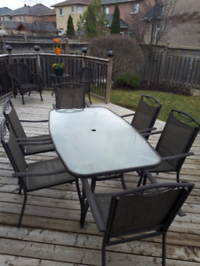 Outdoor Patio Dining Set with 6 Chairs, Excellent Condition $100