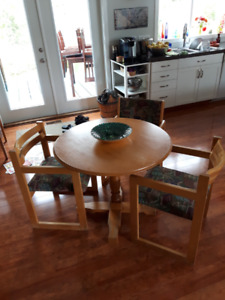 "Round 36"" pedestal table with 3 chairs, $75"