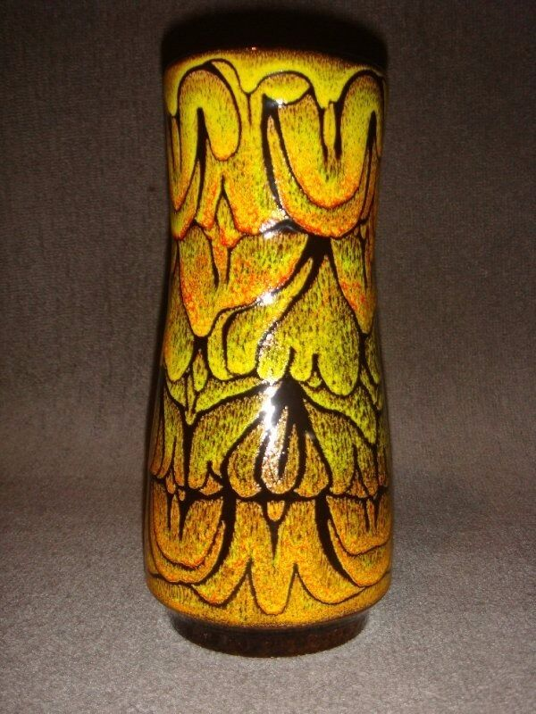 1970s Vintage Aegean Poole Pottery Vase Green Yellow Design No