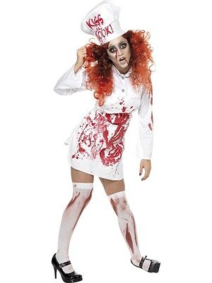 DINNER LADY ZOMBIE SCHOOL COOK CHEF FANCY DRESS COSTUME LADIES HALLOWEEN OUTFIT