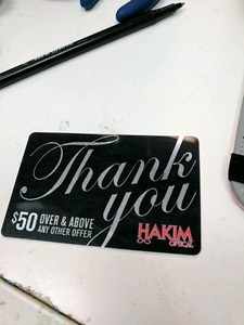 2 hakim gift cards both valued at 50