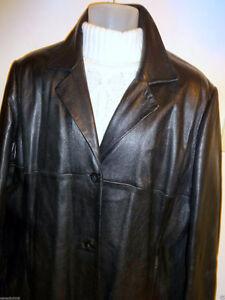 WOMENS 2X 3X XXL XL 48 REG LEATHER JACKET COAT Black PLUS Modern Oakville / Halton Region Toronto (GTA) image 2