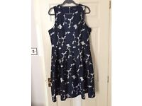 Beautiful navy and white Warehouse dress Size 18
