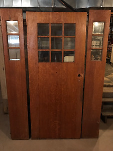 Antique Oak Entry Door with bevel glass + Sidelights - MUST SELL
