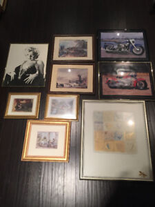 MANY! Art pieces - paintings, posters, prints! All framed! Fm $5