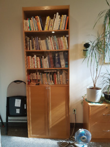 2 Tall Wooden Bookcases with Doors