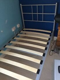 Single bed with sprung slatted base - silver.