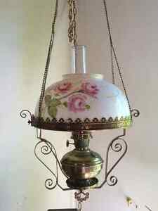 Antique Victorian Hanging Lamp - Electrified