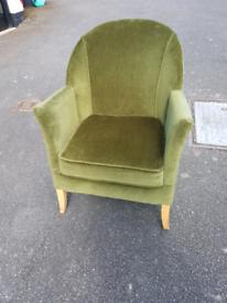 Vintage bedroom chair - reupholstered in green velvet