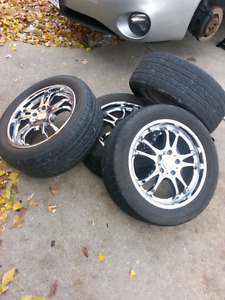 5x114.3 17 chrome fast rims and tires 5x115