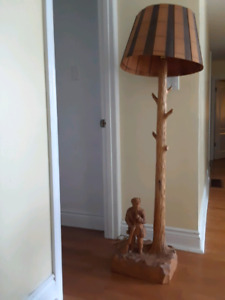 Hand carved solid wood lamp