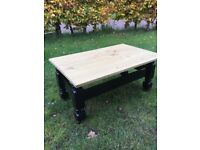 Large waxed pine top coffee table finished in ebony black