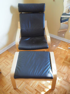 Chaise et repose-pieds Poang - Cuir Brun