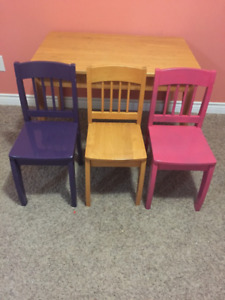 Kids table and three chairs for sale