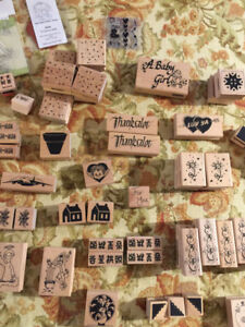 100 + wood block & cling rubber stamps