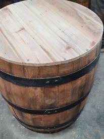 Refurbed 3 qurter oak whisky barrel table