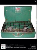 OLDER COLEMAN CAMP STOVE & STAND
