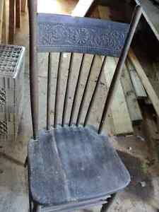 Old high back wooden chair