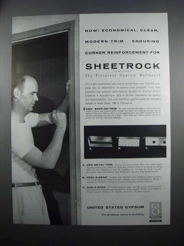 1954 United States Gypsum Ad - Sheetrock, Metal Trim