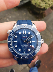 2019 Blue Omega Seamaster 300M 42mm watch on Rubber Strap