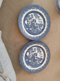 2 x willow dinner plates