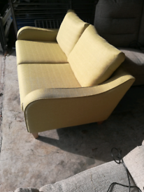 2 seater lime fabric sofa - new condition