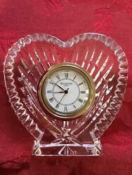 FLAWLESS Exquisite WATERFORD Ireland Crystal HEART Desk Table Mantel CLOCK