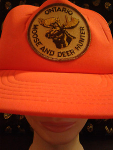 Ontario Moose and Deer Hunter orange  vintage surplus patch hat