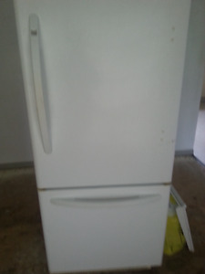 Haier Fridge and Whirlpool White Oven with 4 burner glass top