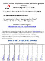 Call for parents of children with ASD aged 8-11 for survey