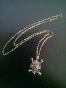 Colorful Crystal Turtle Pendant Necklace