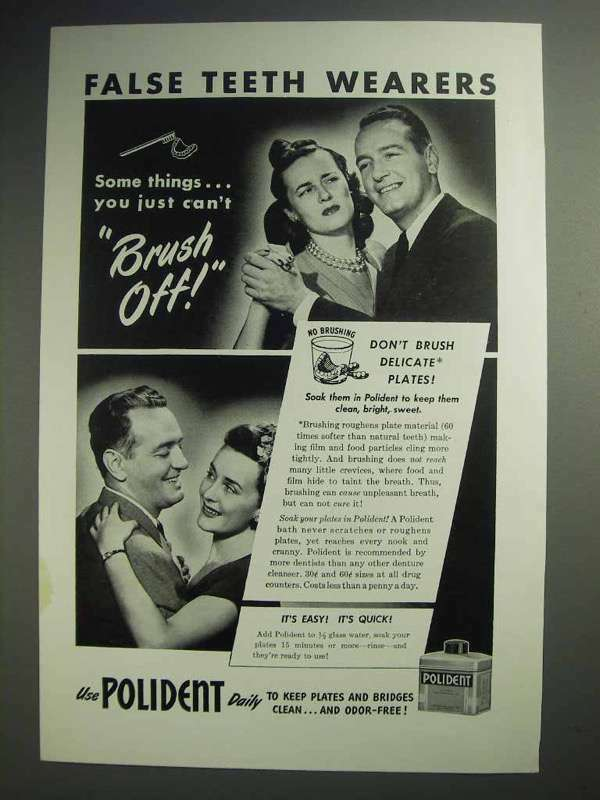 1947 Polident Ad - False Teeth Wearers