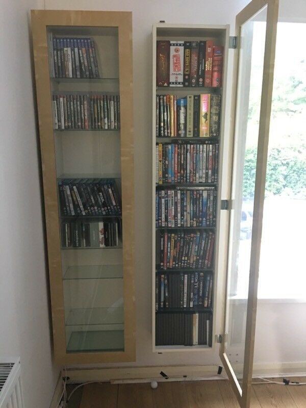 2 x ikea bertby cd dvd storage display cabinet in plymouth devon gumtree. Black Bedroom Furniture Sets. Home Design Ideas