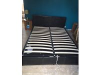 King size black ottoman bed