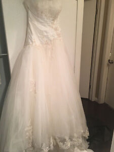 Miss Kelly Paris Ivory Strapless Gown