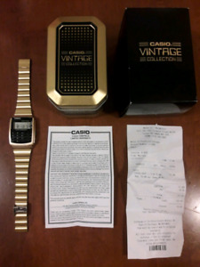 Casio Vintage Collection gold calculator watch NEW