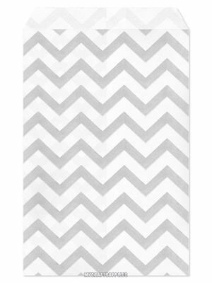 100 Flat Merchandise Paper Bags 4 X 6 Silver Grey Chevron Stripes On White